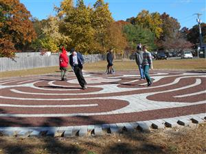 STEM HIGH SCHOOL AND ENGINEERING STUDENTS WALK THE LABYRINTH AT CENTEREACH ACADEMIC CENTER