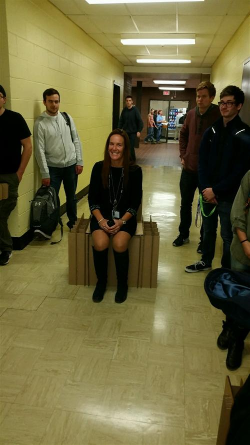 ENGINEERING STUDENTS TAKE THE CARDBOARD CHAIR CHALLENGE