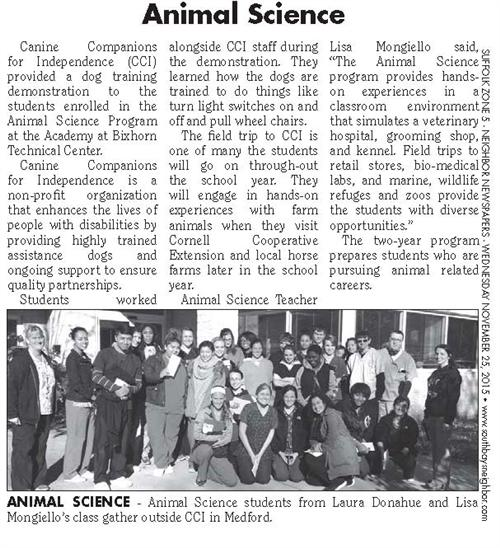 STUDENTS ATTENDING MS. MONGIELLO AND MS. L. DONOHUE'S ANIMAL SCIENCE PROGRAM MAKE THE SOUTH BAY NEWS