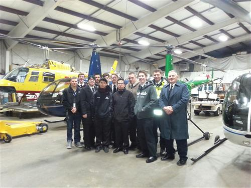PROFESSIONAL PILOT STUDENTS ATTEND A WORKSITE TOUR OF EASTERN HELICOPTER