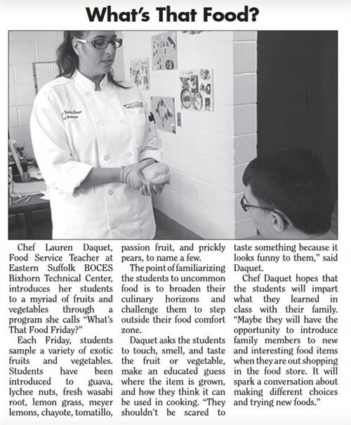 ARTICLE FEATURING MS. DAQUET'S FOOD PREPARATION/SERVICE CLASS IS PUBLISHED IN SOUTH BAY NEWS