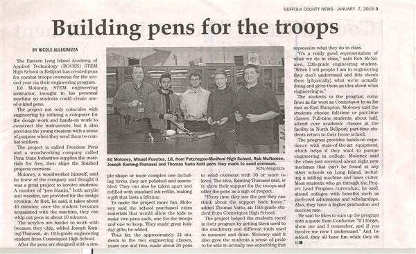 ARTICLE FEATURING OUR ENGINEERING PROGRAM IS PUBLISHED IN LOCAL ADVANCE NEWS NEWSPAPER