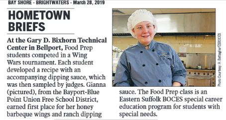 LOOK WHO MADE NEWSDAY'S HOMETOWN SHOPPER - CLICK HERE TO READ ARTICLE FEATURING FOOD PREP CLASS WING COMPETITION