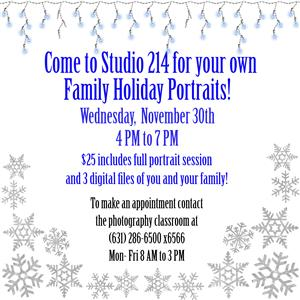 HOLIDAY PHOTO SHOOT WEDNESDAY, NOVEMBER 30TH 4:00 PM TO 7:00 PM