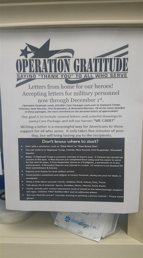 DENTAL ASSISTING STUDENTS EXPRESS GRATITUDE TO OUR MILITARY FOR THEIR SERVICE
