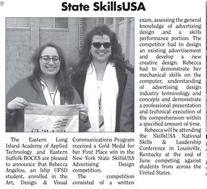ARTICLE PUBLISHED IN SOUTH BAY NEWS FEATURING 1ST PLACE SKILLSUSA STATE COMPETITON WINNER REBECCA ANGELOU