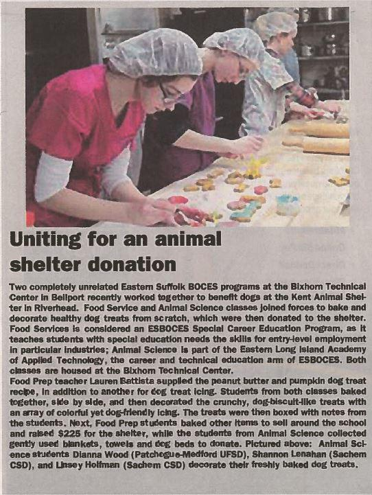 ARTICLE FEATURING ANIMAL SCIENCE AND FOOD PREP IS PUBLISHED IN LONG ISLAND ADVANCE AND NEWSDAY