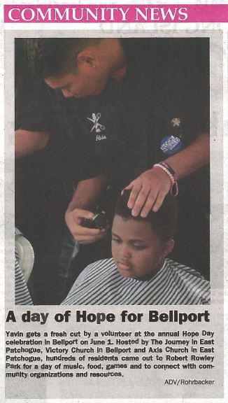 ARTICLE FEATURING MR. RICCIARDO'S BARBERING STUDENTS - BELLPORT HOPE DAY EVENT IS PUBLISHED IN THE L.I. ADVANCE