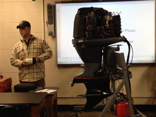 FORMER STUDENT MR. MARCO PIZZO VISITS MR. PICKERELL/MARINE MOTORSPORTS PROGRAM AND SHARES HIS PATHWAY TO SUCCESS