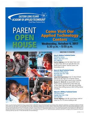 OPEN HOUSE AT THE ACADEMY @ BIXHORN TECHNICAL CENTER, WEDNESDAY, OCTOBER 4, 2017, 6:30 p.m. - 8:00 p.m.