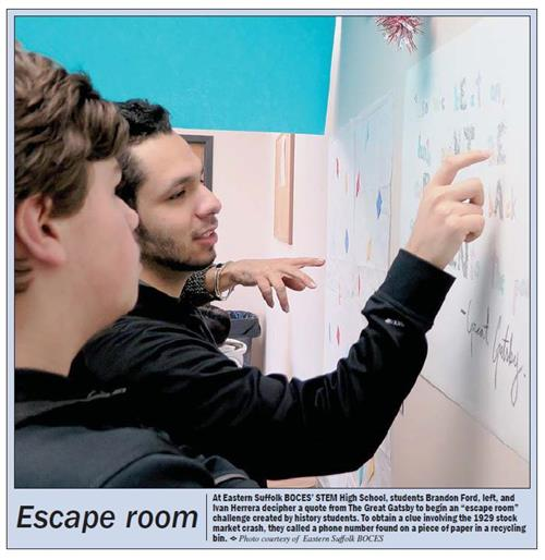 "ARTICLE PUBLISHED IN ""ON BOARD"" FEATURING MS. SCHULTZ HISTORY STUDENTS AND ESCAPE ROOM THEY CREATED"