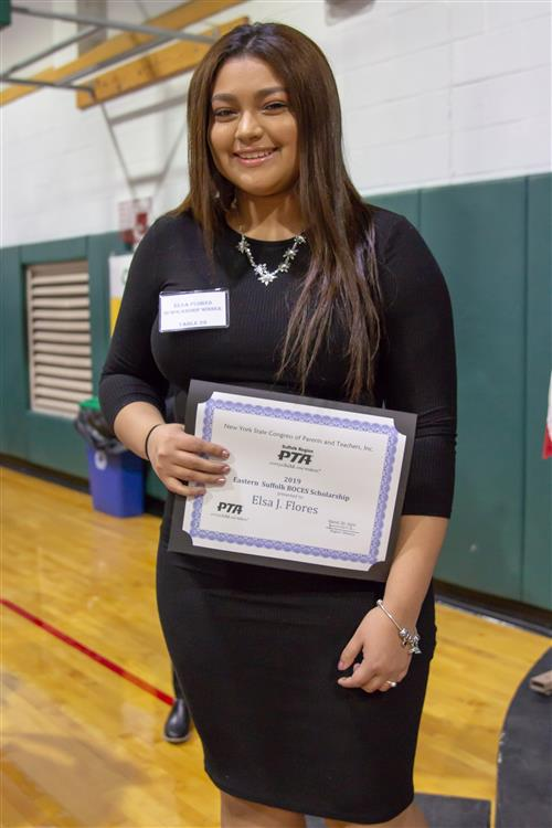DENTAL CHAIRSIDE ASSISTING STUDENT ELSA FLORES RECEIVES SUFFOLK REGION PTA SCHOLARSHIP AWARD - CONGRATULATIONS!