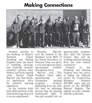 ARTICLE FEATURING MR. ESPOSITO'S PLUMBING & HEATING CLASS IS PUBLISHED ON FRONT PAGE OF SOUTH BAY NEWS