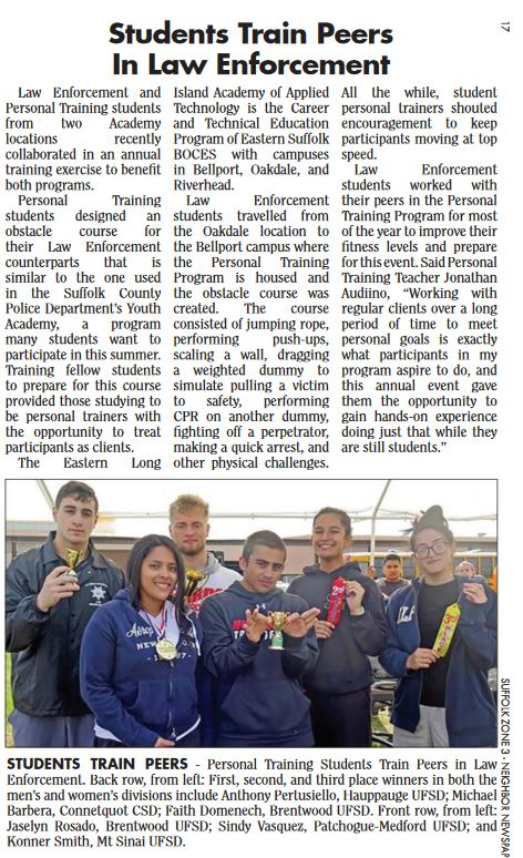 ARTICLE FEATURING CERTIFIED PERSONAL TRAINER STUDENTS TRAINING LAW ENFORCEMENT STUDENTS FROM MTC WAS PUBLISHED IN SOUTH BAY NEWS