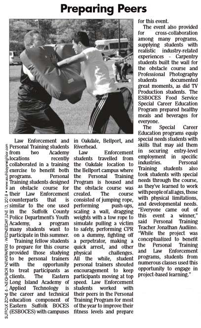 ARTICLE FEATURING MR. AUDIINO'S CERTIFIED PERSONAL TRAINER STUDENTS IS PUBLISHED IN SOUTHBAY NEWS