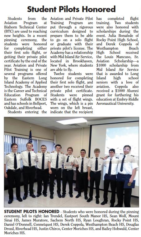 ARTICLE FEATURING AVIATION PINNING CEREMONY IS PUBLISHED IN SOUTH BAY NEWS