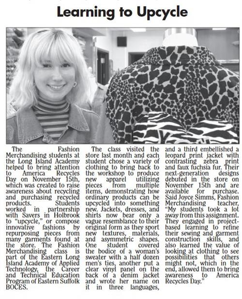 ARTICLE FEATURING MS. SIM'S FASHION MERCHANDISING & DESIGN STUDENTS PUBLISHED IN LOCAL NEWSPAPER
