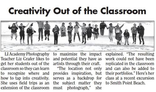 ARTICLE FEATURING MS. GRAFER'S PHOTOGRAPHY CLASS IS FEATURED IN SOUTH BAY NEWS