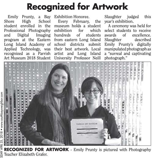 MS. GRAFER'S PROFESSIONAL PHOTOGRAPHY STUDENT, EMILY PRUNTY IS 2018 PARRISH ART MUSEUM STUDENT EXHIBITION HONOREE - CONGRATULATIONS