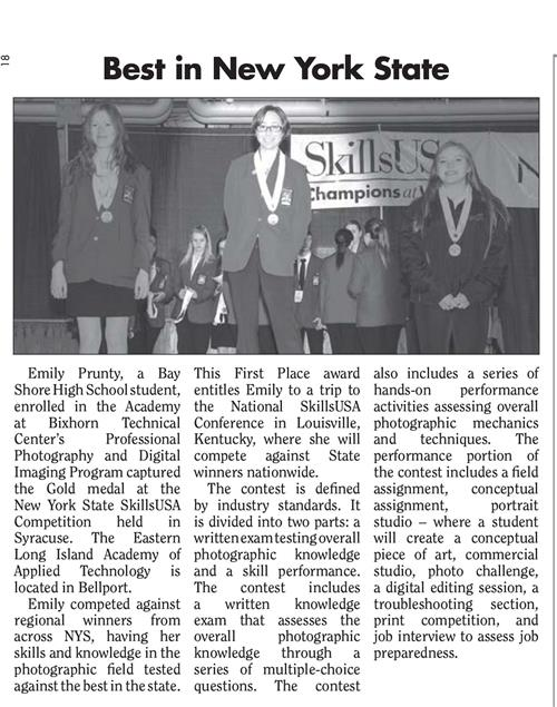 ARTICLE PUBLISHED IN SOUTH BAY NEWS FEATURING NEW YORK STATE SKILLSUSA GOLD MEDAL WINNER MS. EMILY PRUNTY
