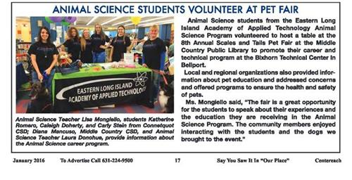 ARTICLE FEATURING OUR ANIMAL SCIENCE PROGRAM IS FEATURED IN LOCAL OUR PLACE NEWSPAPERS