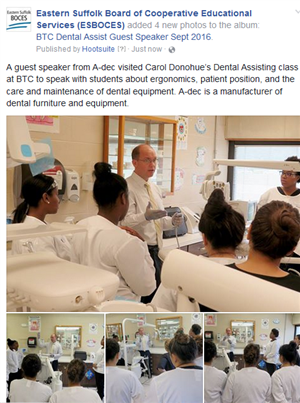 GUEST SPEAKER FROM A-DEC VISITS MS. CAROL DONOHUE'S DENTAL ASSISTING CLASS