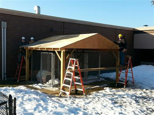 CARPENTRY STUDENTS WORK ON COLLABORATIVE PROJECT WITH THE ANIMAL SCIENCE PROGRAM