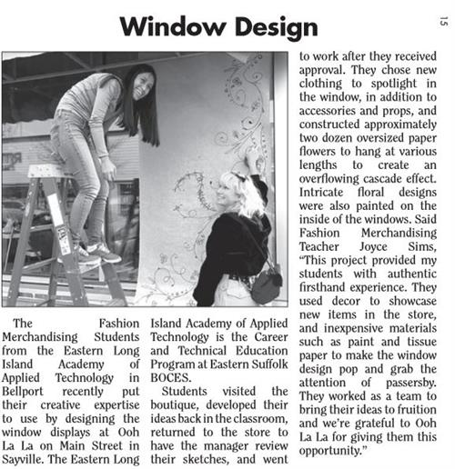 ARTICLE FEATURING MS. SIM'S FASHION MERCHANDISING & DESIGN STUDENTS IS FEATURED IN LOCAL NEWSPAPER