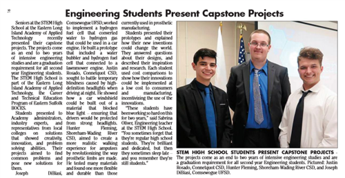 ARTICLE FEATURING THE ENGINEERING STUDENTS CAPSTONE PROJECT PRESENTATION IS PUBLISHED IN SOUTH BAY NEWS & HOMETOWN SHOPPER