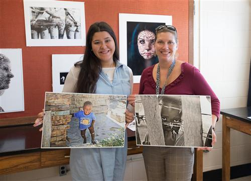 ALUMNI STUDENT VISITS MS. GRAFER'S PROFESSIONAL PHOTOGRAPHY CLASS