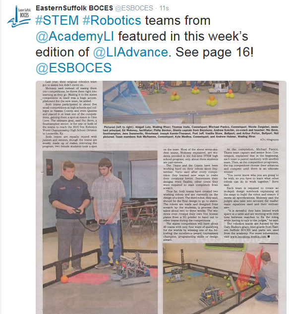ARTICLE FEATURING THE STEM ROBOTICS TEAMS IS FEATURED IN LIADVANCE