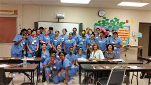 PRACTICAL NURSING STUDENTS HAVE FUN LEARNING THE SKELETAL SYSTEM
