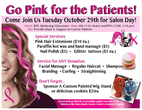 TUESDAY, OCTOBER 29, 2019 - COME JOIN US -SALON DAY ROOM 129 BARBERSHOP- BREAST CANCER FUNDRAISER