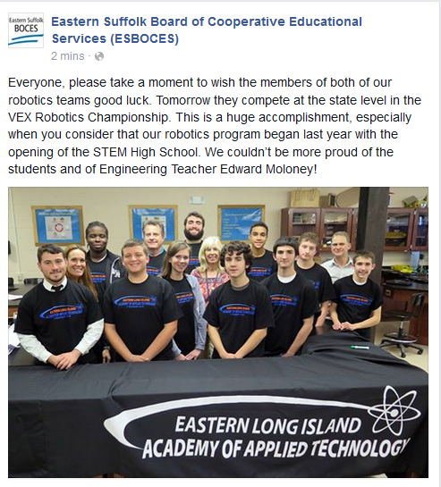 BEST OF LUCK GOES OUT TO THE STEM ROBOTICS TEAMS AS THEY COMPETE TOMORROW AT THE VEX ROBOTICS CHAMPIONSHIP