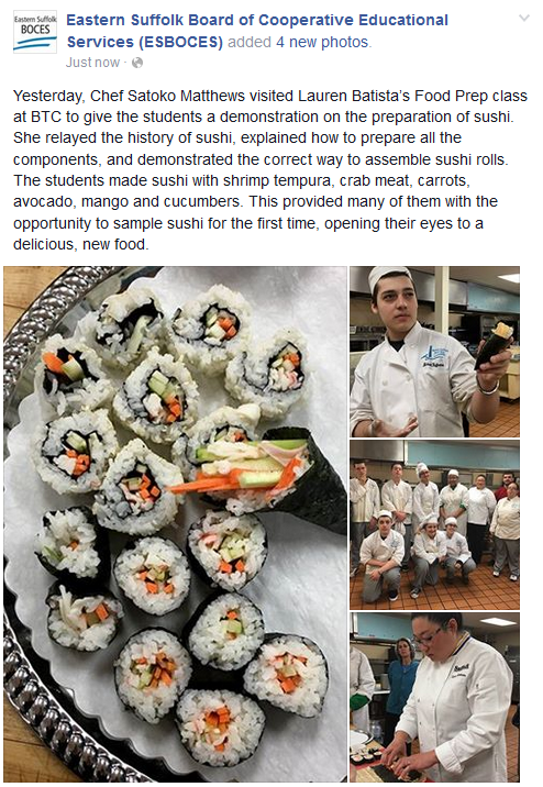 STUDENTS ATTENDING MS. BATTISTA'S FOOD PREPARATION PROGRAM LEARN THE ART OF PREPARING SUSHI