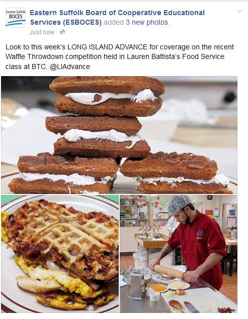 ARTICLE FEATURING THE WAFFLE THROWDOWN COMPETITION HELD IN MS. BATTISTA'S FOOD PREP CLASS IS PUBLISHED IN THE LONG ISLAND ADVANCE NEWS
