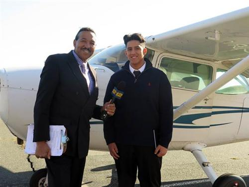 TUNE INTO NEWS 12 TONIGHT WHEN KEN GRIMBALL INTERVIEWS AVIATION STUDENT WILFRED TORRES