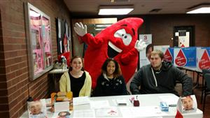 "Ms. Jessen's students, Kaitlyn, Bryanna, Christopher, and our ""Blood Drop"" man SkillsUSA President Louis."