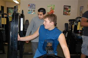 Mr. Audiino's student, Milton during a workout