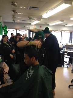 Mr. Mahoney's Barbering students working hard