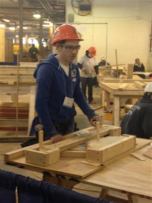 Carpentry student, Jeremy Feller during competition