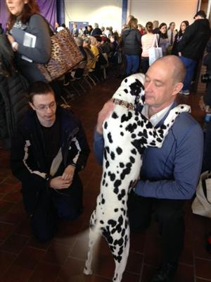 Ms. Donohue's student William with a show dog Dalmation and handler