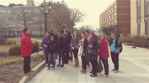 Ms. Jessen and her students enjoying tour of St. John's University