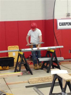Carpentry student during competition